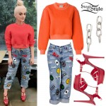 Bebe Rexha: Patchwork Jeans Outfit