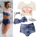 Bella Thorne: Denim High-Waist Bikini