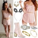 Bella Thorne: Blush Crop Top & Shorts