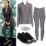 Bella Thorne: Heather Gray Pullover & Leggings