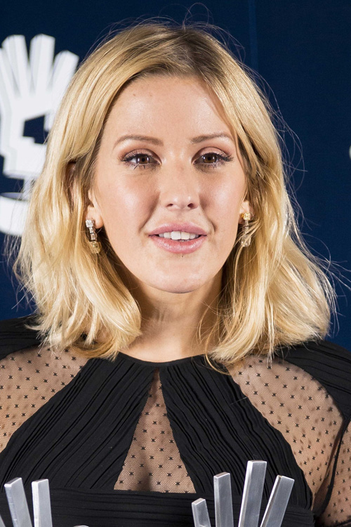 Ellie Goulding Straight Ash Blonde Blunt Cut Hairstyle