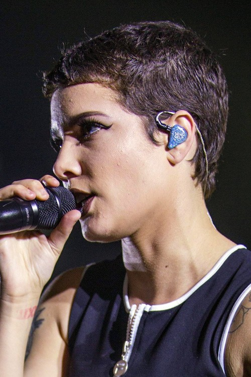 Halsey Straight Dark Brown Buzz Cut Hairstyle Steal Her