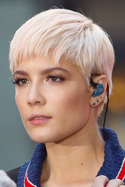 halsey straight platinum blonde pixie cut hairstyle