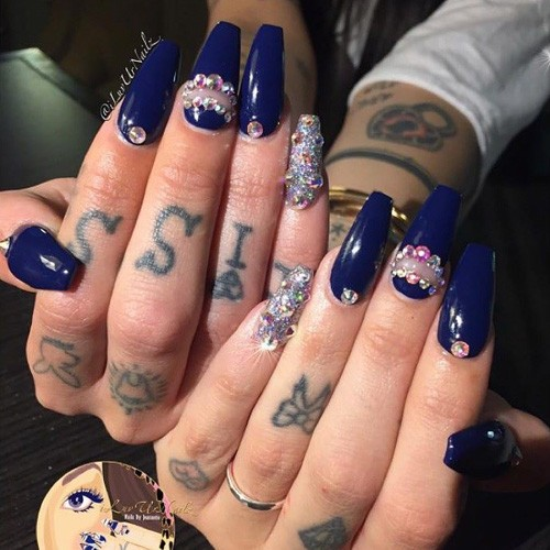 Hanna Beth Merjos Navy Blue, Silver Beads, Glitter Nails | Steal Her ...