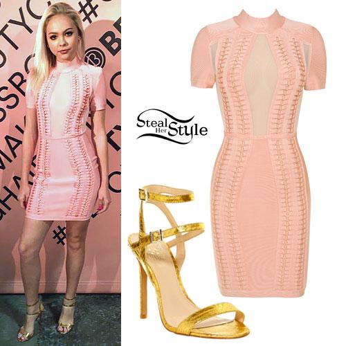 Jordyn Jones: Pink Dress, Gold Sandals
