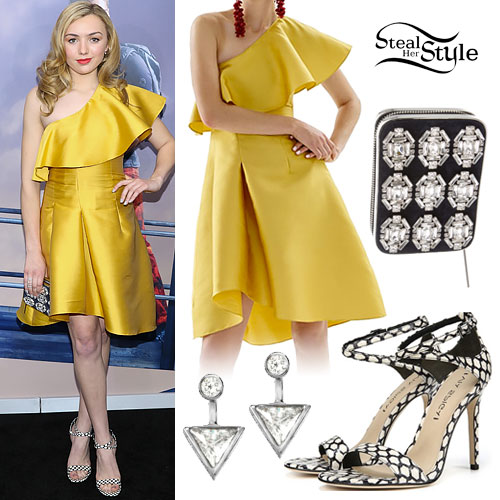 Peyton List: Yellow Ruffle Dress
