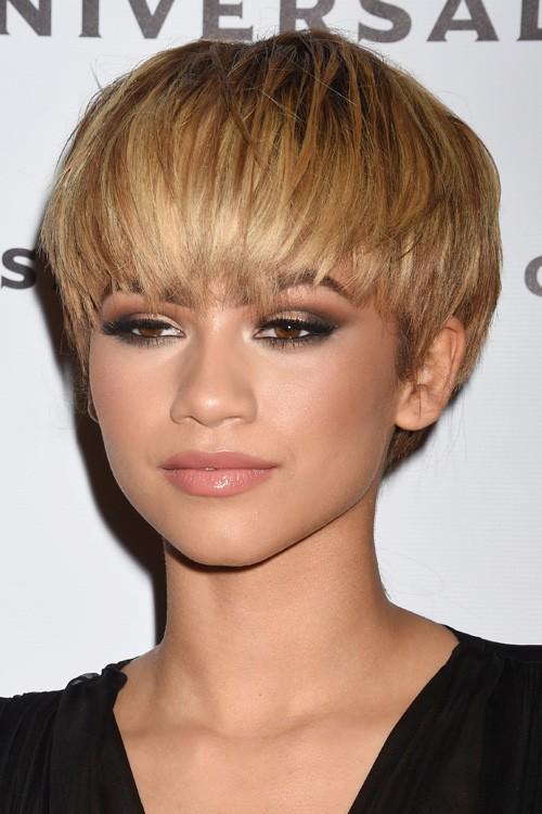 Zendaya Straight Light Brown Pixie Cut Hairstyle Steal