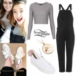 Zoella: Black Overalls, Bunny Shoes