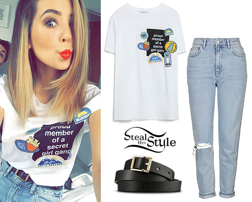 Zoella: 'Girl Gang' Tee, Mom Jeans