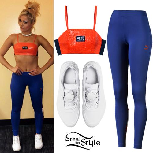 bebe rexha orange bra blue leggings steal her style