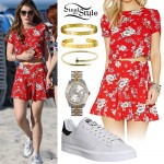 Bella Thorne: Red Floral Two-Piece