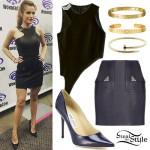 Bella Thorne: Leather Top & Skirt