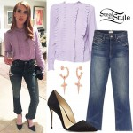 Emma Roberts: Ruffle Blouse, Crop Jeans
