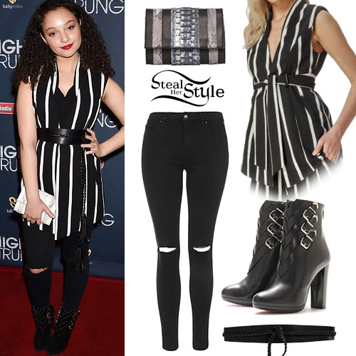 Kayla Maisonet: Striped Tunic, Buckle Booties