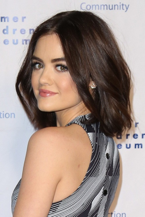 Lucy Hale Straight Dark Brown Blunt Cut Bob Hairstyle Steal Her Style