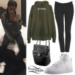 Madison Beer: Olive Hoodie, High-Tops