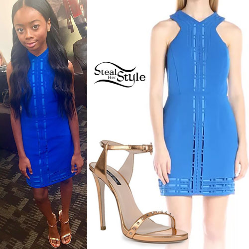 Skai Jackson: Blue Dress, Gold Sandals