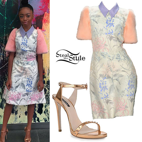 Skai Jackson: Fur & Floral Dress