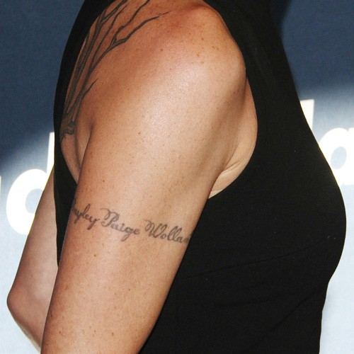Teri Polo Writing Upper Arm Tattoo