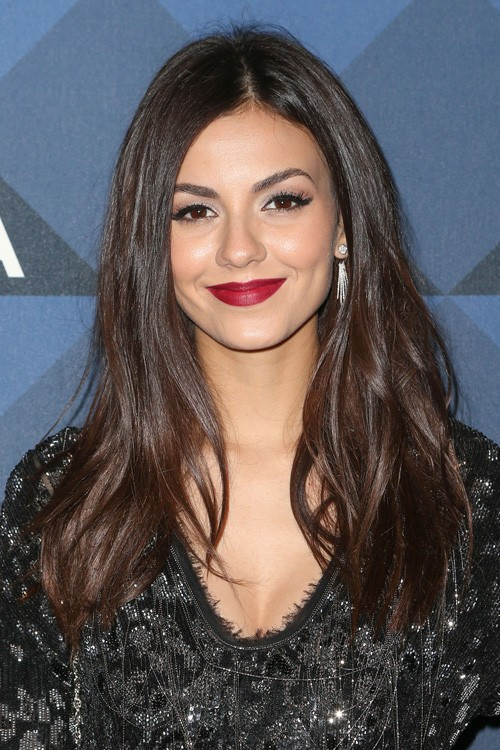 Victoria Justice Straight Dark Brown Long Layers Hairstyle