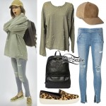Amanda Steele: Olive Sweatshirt, Ripped Jeggings