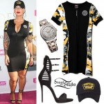 Amber Rose: Zip-Front Camoflauge Dress