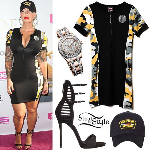 Amber Rose: Zip-Front Camoflauge Dress