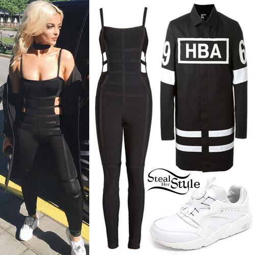 Bebe Rexha: Bandage Jumpsuit, HBA Coat