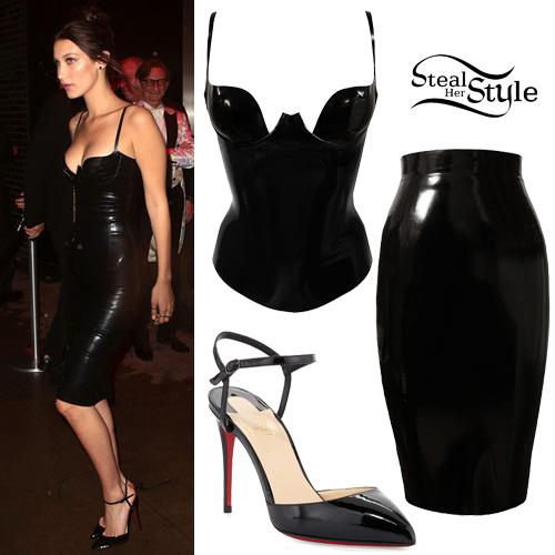 Bella Hadid Black Latex Top Amp Skirt Steal Her Style