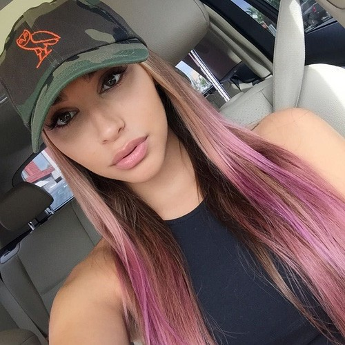 Chantel Jeffries Straight Medium Brown Chunky Highlights