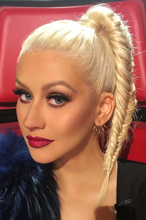 Christina Aguilera Straight Platinum Blonde Fishtail Braid