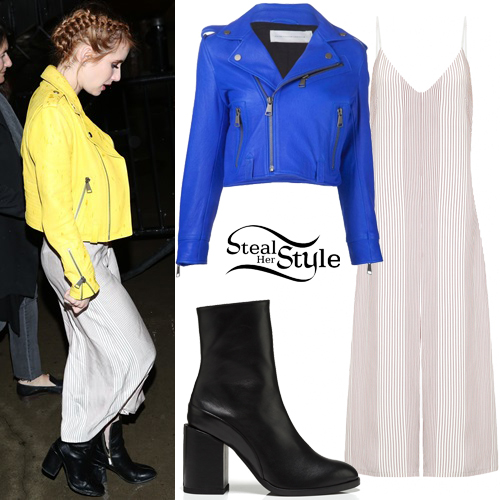 Emma Roberts Slip Dress Yellow Leather Jacket Steal Her Style