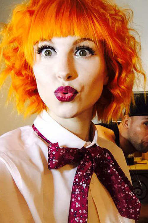 Hayley Williams Straight Wavy Orange Bob Choppy Bangs