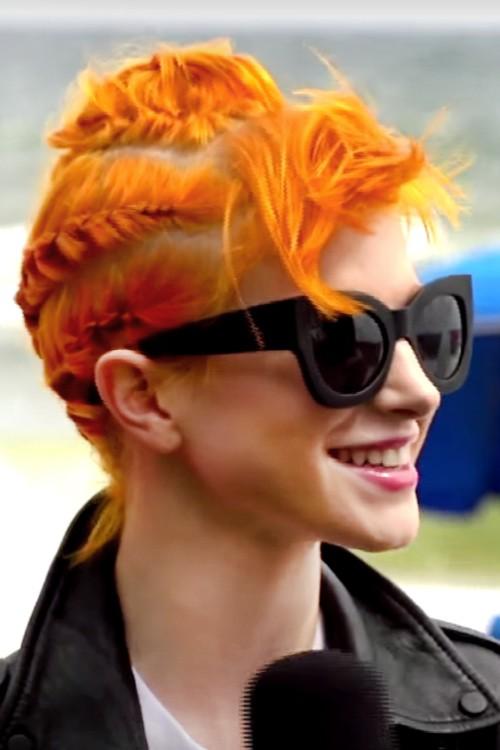 Hayley Williams Wavy Orange Choppy Bangs Cornrows Messy