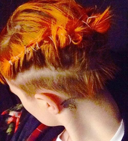 Hayley Williams Straight Orange Cornrows Ponytail