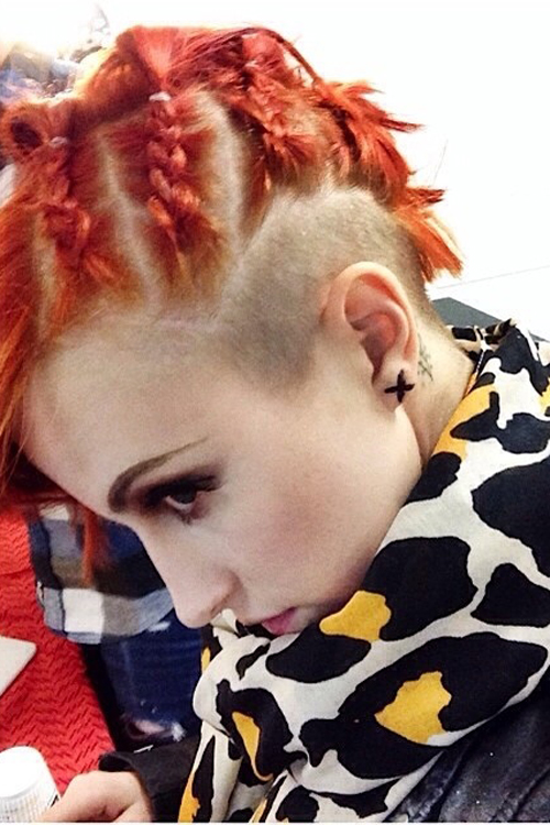 Hayley Williams Straight Orange Cornrows Undercut Uneven