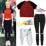 Hayley Williams: Striped Raglan, Ripped Jeans