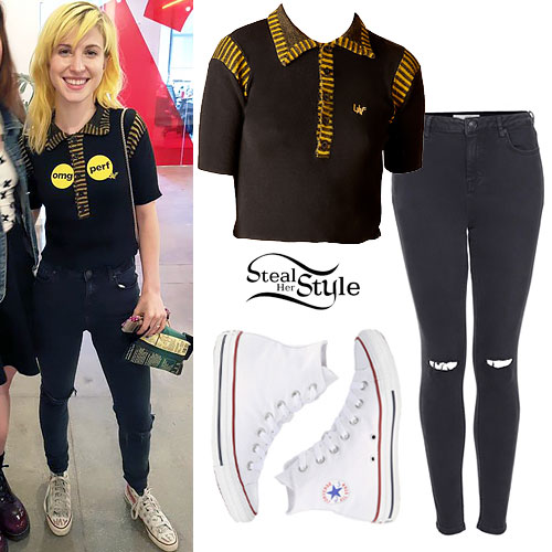 Hayley Williams: Yellow & Black Striped Polo