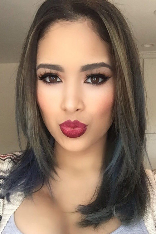 Jasmine Villegas Straight Dark Brown Angled Two Tone