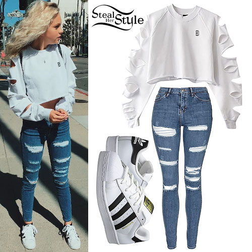 Jordyn Jones: Slashed Sweatshirt, Torn Jeans