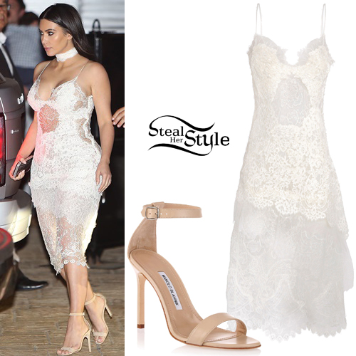 Kim Kardashian: White Lace Dress, Beige Sandals | Steal Her Style