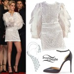 Kristen Stewart: Feathered-Sleeve Dress