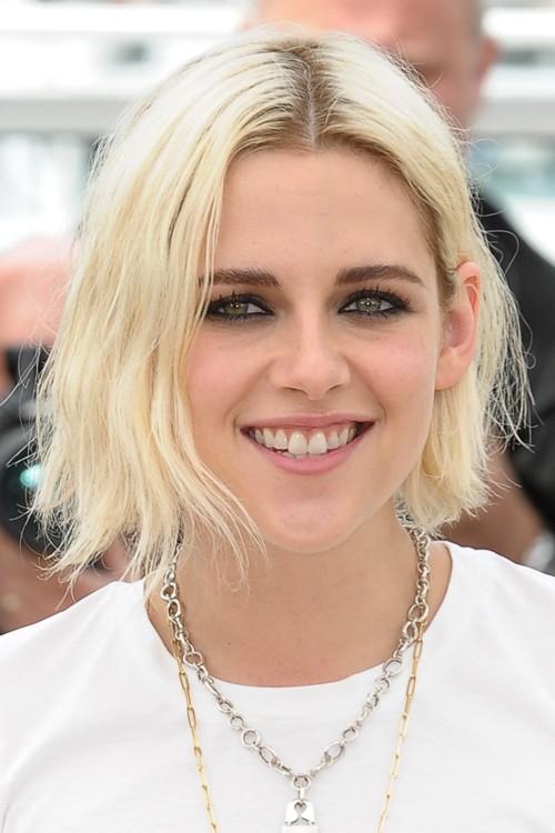 Kristen Stewart Straight Platinum Blonde Blunt Cut Bob Dark Roots