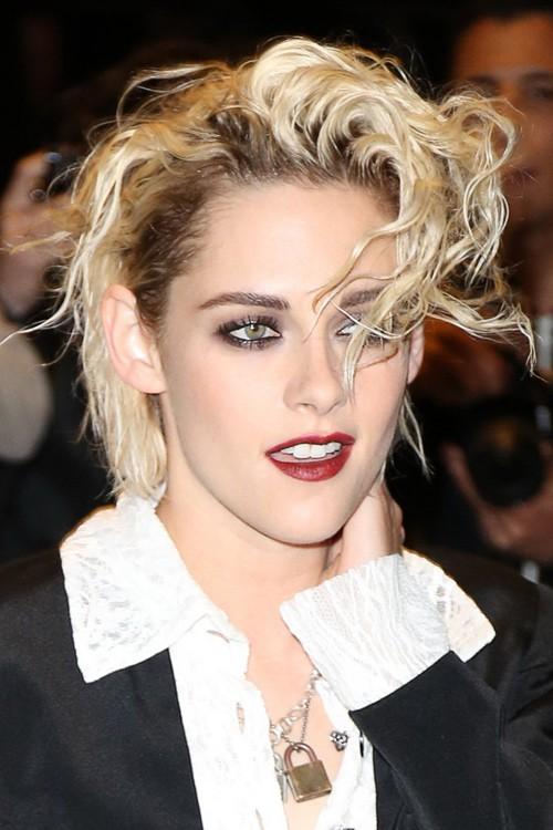 Surprising Kristen Stewart Wavy Platinum Blonde Barrel Curls Dark Roots Hairstyles For Men Maxibearus