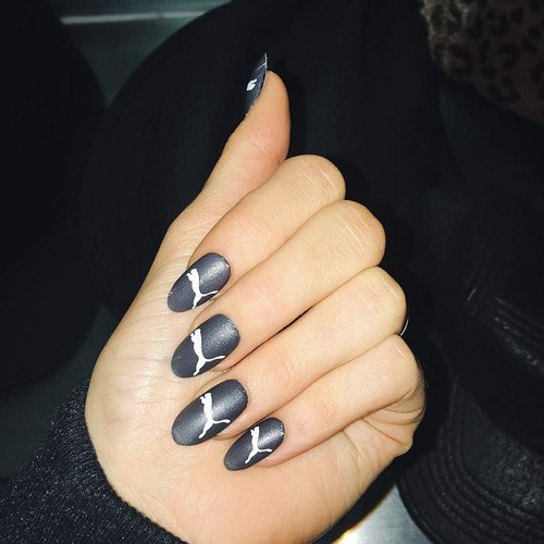 Kylie Jenner Gray Logo Nails Steal Her Style