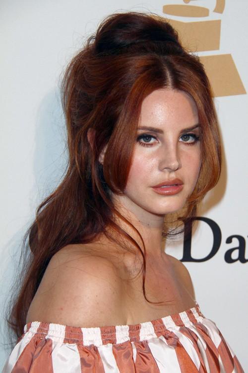 Lana Del Rey Wavy Auburn Bouffant Bun Half Up Half Down