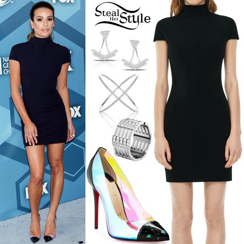 Lea Michele Black Dress Pvc Pumps Steal Her Style