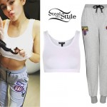 Madison Beer: White Bralet, Patch Sweatpants