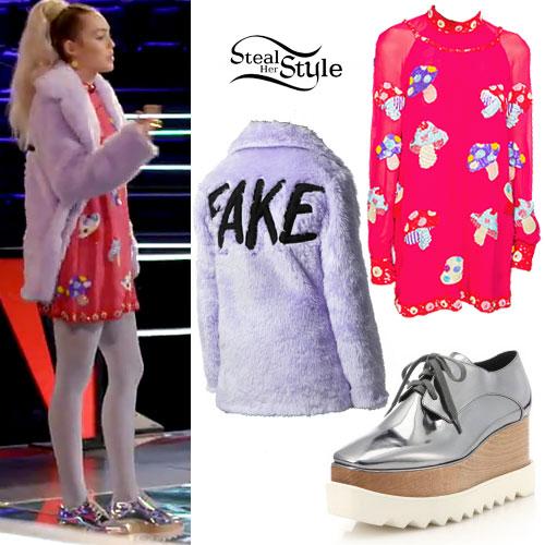 Miley Cyrus: Fake Fur, Mushroom Dress