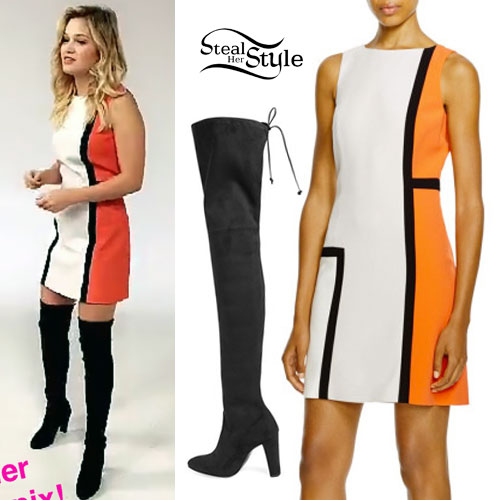 Olivia Holt: Colorblock Dress, Thigh Boots